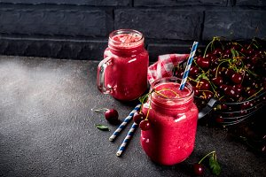 Homemade cherry smoothie