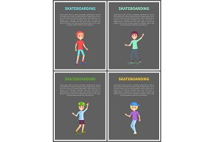 Skateboarding Posters Set Vector Illustration