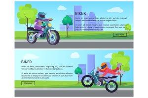 Biker on Street Motorbike Riding on Road Cityscape
