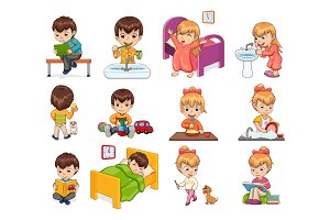 Little Boy and Girl Collection Vector Illustration