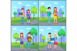 Male and Female Students with Handbags Vector Set