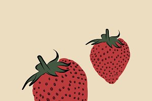 Two strawberries funky Illustration