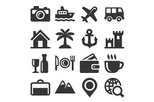 Travel and Transport Icons Set