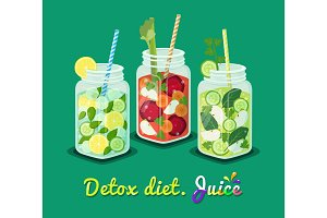 Detox Diet Poster Mug Set Vector Illustration