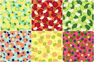 Detox Fruit Ingredients Set of Seamless Patterns