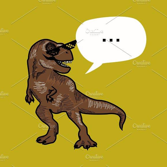 T-rex dino funky illustration