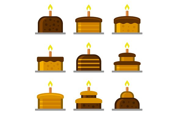 Birthday Cake with Candles Icons Set
