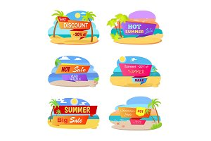 Hot Summer Sale Promotional Stickers with Beach