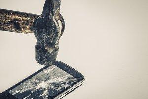 black broken phone