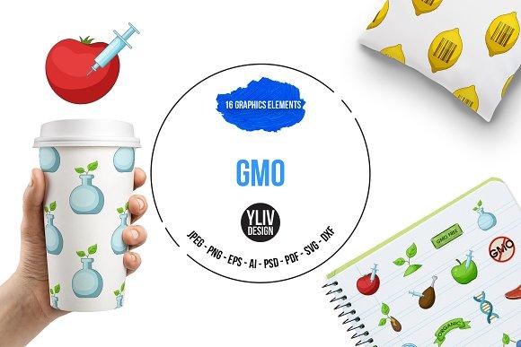 GMO goods icons set, cartoon style in Graphics