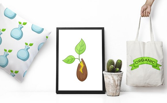 GMO goods icons set, cartoon style in Graphics - product preview 1