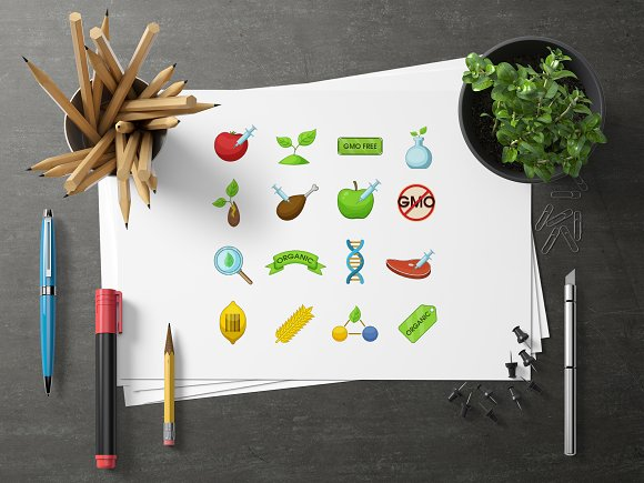 GMO goods icons set, cartoon style in Graphics - product preview 2
