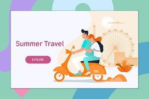 Couple traveling on a scooter.Summer vacation, tourism and journey, couple travels. Flat vector illustration