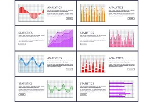 Analytics and Statistics Set Vector Illustration