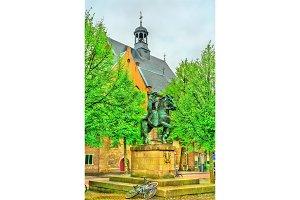 Statue of Saint Willibrord near the Janskerk church in Utrecht, the Netherlands