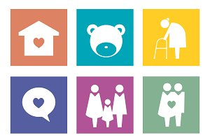 family icons pictogram illustration