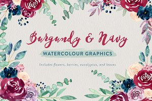 Burgundy + Navy Watercolour Flowers