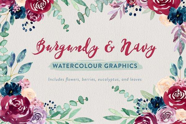 Burgundy + Navy Watercolour Flowers