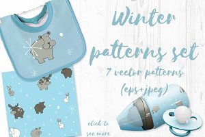 Winter patterns vector set for kids