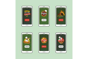Hot Pizza Delivery Online App for Smartphone Set