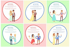 Wedding Posters Set with Text Vector Illustration