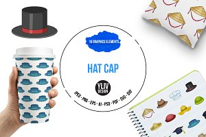 Hat cap icons set, cartoon style