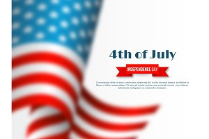 4th of July - Independence day of America. Holiday background. 3d blur effect american waving flag on white, vector illustration.