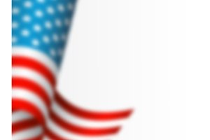 Waving flag of USA with blur effect. White background, vector illustration.