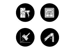 Construction tools glyph icons set