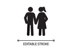 Married couple silhouette icon