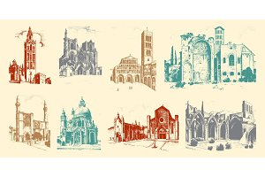 Historical old building. Facade in Venice. Gothic Baroque style. Ancient Architecture of street in Italy. European city on white background. Vector illustration. Hand drawn engraved sketch.