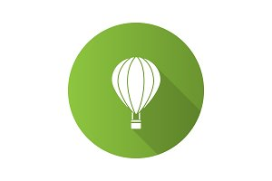Hot air balloon flat design long shadow glyph icon
