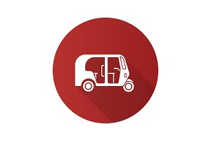 Auto rickshaw flat design long shadow glyph icon