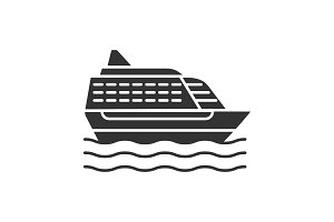 Cruise ship glyph icon