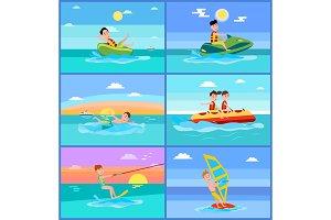 Activities of Summer Sport Vector Illustration