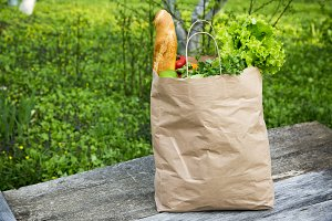 A full paper bag of healthy products