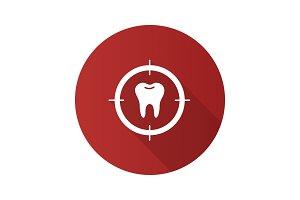 Aim on tooth flat design long shadow glyph icon