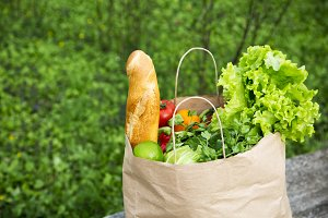 Full paper bag of healthy products