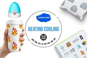 Heating cooling icons set, cartoon