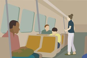 People travel by train illustration