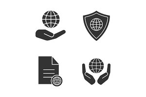 Safe internet connection glyph icons set