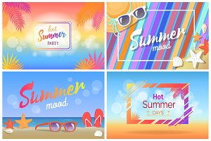 Hot Summer Party Bright Promotional Posters Set