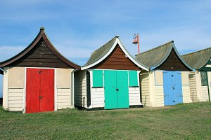 Old Beach Huts Red Blue Green