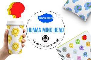 Human mind head icons set, cartoon