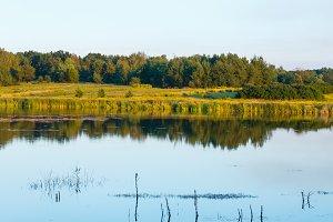 Evening summer lake landscape