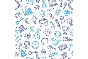 Vector business doodle icons background or pattern illustration