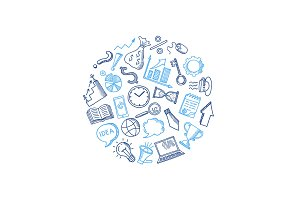 Vector business doodle icons in circle shape illustration