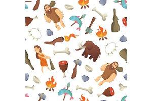 Vector cartoon cavemen background or pattern illustration