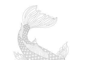 Japanese koi coloring illustration