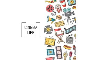 Vector cinema icons background illustration